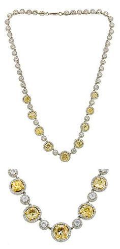 Doyle and Doyle diamond riviere necklace, featuring nine antique fancy yellow, Old Mine cut diamonds weighing app. 8.90ctw and 45 Round Brilliant cut diamonds weighing app. 6.51ctw.