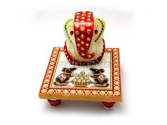 Ganesha on Rat Chowki in White Marble buy Online From India
