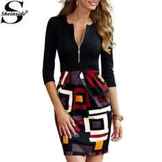 Women's Wear to Work Dresses - Miusol Womens DeepV Neck 23 Sleeve Slim Sexy Business Dress -- You can get more details by clicking on the image. Robe Bodycon, Bodycon Dress With Sleeves, Sleeve Dresses, Sheath Dresses, Dresses 2016, Dresses Dresses, Evening Dresses, Basic Fashion, Look Fashion