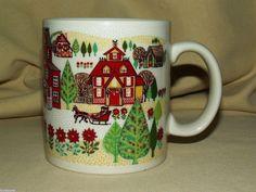 CHRISTMAS MUG OTAGIRI COFFEE TEA CUP WINTER SCENE HOLIDAY HOMETOWN SLEIGH SNOW