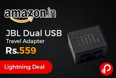 Amazon #LightningDeal is offering JBL Dual USB Travel Adapter Just at Rs.559. Dual USB charging, 1 meter micro USB cable included, Exchangeable plugs for different regions.  http://www.paisebachaoindia.com/jbl-dual-usb-travel-adapter-just-at-rs-559-amazon/