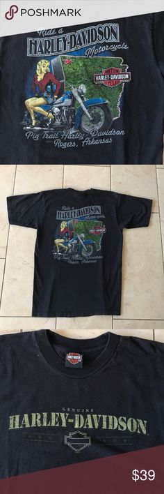 Harley Davidson t-shirt size M Super cool graphics!  Harley-Davidson t-shirt. Size is not marked but fits like a men's M. Pig trail Harley Davidson Rogers, Arkansas. No flaws. Harley-Davidson Shirts Tees - Short Sleeve