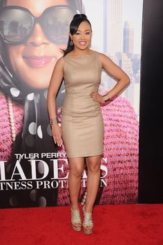 Cymphonique Miller at Tyler Perry's Madea's Witness Protection premiere in June Cymphonique Miller, Tan Dresses, Red Carpet, Latest Trends, Bodycon Dress, Beige, Cute, Wedding, Inspiration