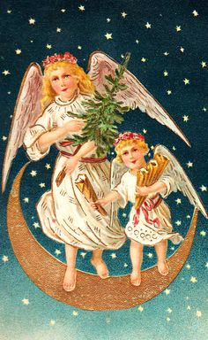 Two Christmas angels on crescent moon holding undecorated tree and gifts