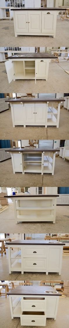 Custom made French Flair Island with bin, cupboard with fitted prep bowl and open shelves. Free Standing Kitchen Units, Open Shelves, Cupboard, Solid Wood, Kitchen Design, Kitchens, The Unit, Island, French