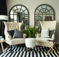 To maximize daylight – and to visually increase square footage – Jon Call of Mr Call Designs relies on large scale mirrors. Decor, House Design, Room, Interior, Home, Foyer Decorating, Living Room Decor, Inviting Home, Interior Design