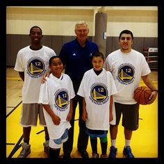 Jerry West helping celebrate #GSWCountdown w/ a special clinic at #Warriors HQ.