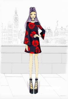 Fashion Illustrati Portrait, Illustration, Fashion Design, Dresses, Vestidos, Headshot Photography, Portrait Paintings, Illustrations, Dress