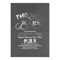fun engagement party invitation This Just Got Real - tap, personalize, buy right now!  #fun #engagement #party #funny #casual Engagement Party Decorations, Engagement Party Invitations, Country Engagement, Wedding Engagement, Engagement Parties, Engagement Pictures, Engagement Ideas, Engagement Shoots, Engagement Photography