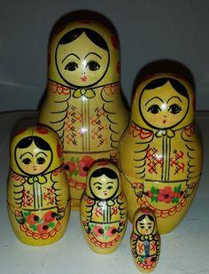 Vintage-1989-Russian-Wooden-Nesting-Dolls-Exclusive-Art-MATRYOSHKA