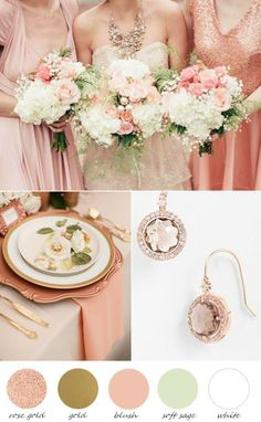 Soft and elegant palette of rose gold with blush and sage. Know a bride who might like it?http://buff.ly/MCL6wM
