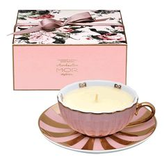 MOR teacup and saucer candle