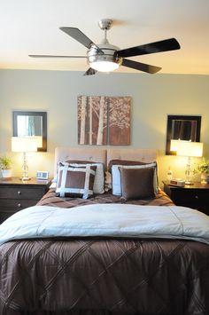 Organizing Made Fun: small master bedroom: tricks to make it feel bigger & organized