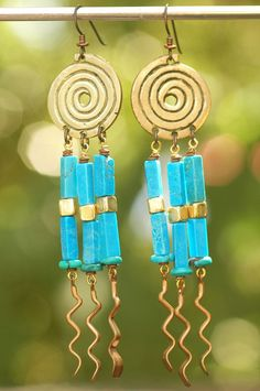 Exotic Turquoise, Brass and Copper Spiral Chandelier Earrings