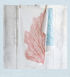 Coral Sea Fan towel. Wash-ed ashore. The intricate details of a coral sea fan are revealed in our towel. Flour sack cotton provides a quick drying and lightweight towel for the kitchen or bath.