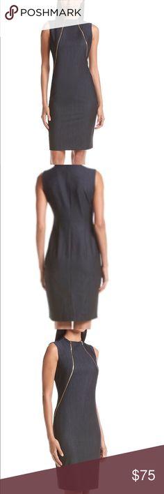 CK Sheath Denim Dress w/Gold Zippers on Neckline Features: sleek style with blue denim sheath silhouette fabric, gold-tone zip front accents, high neckline, Cotton / elastane Calvin Klein Collection Dresses