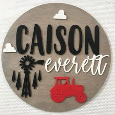 Tractor Nursery Name Sign Tractor Nursery, Farm Nursery, Nursery Name, Nursery Signs, Nursery Wall Art, Unisex Baby Names, Cute Baby Names, Baby Girl Names, Baby Boy