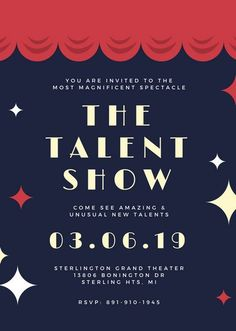 Navy Red Curtains Talent Show Invitation Portait Poster Design Software, Landscape Design Software, Film Poster Design, Event Poster Design, Talent Show, Blog Website Design, Singing Time, You Are Invited, Photoshop Design