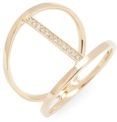 4f34702ad11 CR by Casa Reale Women's Vertical Diamond Bar Double Ring 14K yellow gold  double ring with