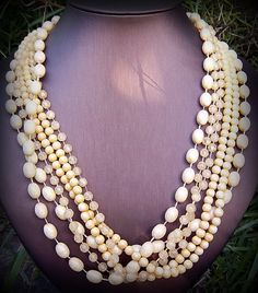Midcentury SixStrand Necklace in Sunny Mellow Yellows