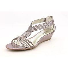 Alfani Genesis Womens Size 8.5 Silver Open Toe Wedges Heels Shoes | Amazon.com