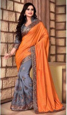 Orange Color Net Silk Fabric Casual Wear Saris Blouse | FH513578160 #party , #wear, #saree, #indian, #festive, #fashion, #online, #shopping, #designer, #usa, #henna, #boutique, #heenastyle, #style, #traditional, #wedding, #bridel, #casual, @heenastyle , #blouse, #prestiched, #readymade, #stiched , #lehegasaris, #sari, #saris