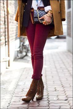 bordowe spodnie stylizacja