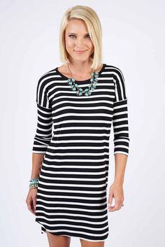 Striped Tunic Dress by Evereve | The #1 boutique for moms! $5 Flat Rate Shipping + FREE shipping on all orders over *$50. #Evereve