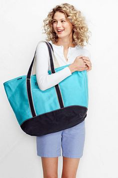 Extra Large Natural Canvas Open Top Tote Bag Lands End