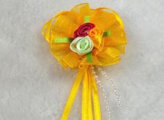 20pcs Organza Cabbage Flower Streamers the the Wedding Decoration Appliques (Yellow) * Check this awesome product by going to the link at the image.