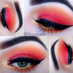 eye makeup summer bright pink orange red yellow liner shadow