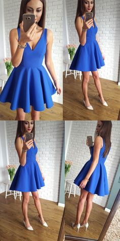 royal blue homecoming dresses, v neck homecoming dresses, short homecoming dresses, homecoming dress with pleats #HomecomingDress