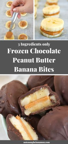 Frozen Chocolate Peanut Butter Banana Bites - Not Enough Cinnamon - - You only need three ingredients – chocolate, peanut butter and bananas – to make these delicious healthy treats. They are super easy to make and always a hit with everyone! Köstliche Desserts, Frozen Desserts, Healthy Dessert Recipes, Healthy Treats, Frozen Treats, Healthy Desserts With Bananas, Recipes With Bananas, Healthy Chocolate Desserts, Cinnamon Desserts