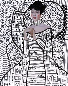 """Gustav Klimt was an Austrian painter who often used gold leaf to make his elaborately patterned paintings, as in """"Adele Bloch-Bauer's Portrait."""" One way for students the appreciate all the patterns is to imitate the look just using lines. 1. Print out a page for each student. The body is sketched in with pencil. 2. The … Read More"""