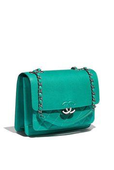 3aff30078 Bolsa, couro de novilho granulado & metal prateado-verde - CHANEL Bolsas De  Couro