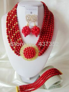 New Design Fashion Red Coral Beads Necklaces Bracelet Earrings Nigerian African Wedding Beads Jewelry Set  CPS-2466 $68.56