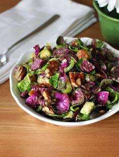 Purple Brussels Sprout Salad with Pecans + Orange Garlic Dressing.