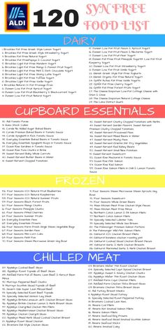 Here are 120 Aldi Syn free Slimming World shopping list. For over 300 budget Ald… Here are 120 Aldi Syn free Slimming World shopping list. For over 300 budget Aldi items and a FREE meal plan printable PLUS an easy… Continue Reading → Aldi Slimming World Syns, Slimming World Healthy Extras, Slimming World Shopping List, Slimming World Survival, Slimming World Speed Food, Slimming World Diet Plan, Slimming World Treats, Slimming World Dinners, Slimming World Recipes Syn Free