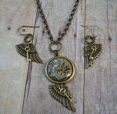 Steampunk Wing and a Prayer Necklace and Earring by simplywillow, $58.00