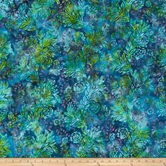 Bali Batiks Handpaints Flower & Leaf Aruba from @fabricdotcom  Designed for Hoffman International Fabrics, this Indonesian batik is perfect for quilting, craft projects, apparel and home décor accents. Colors include shades of blue, shades of green and purple.
