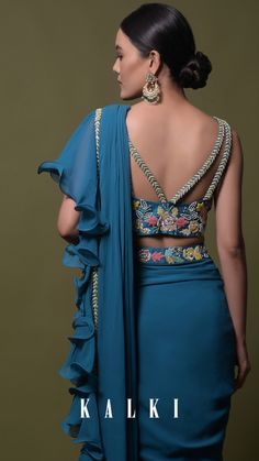 Teal ready pleated saree in georgette with ruffle frill and hand embroidered blouse online - kalki fashion Saree Wearing Styles, Saree Styles, Saree Blouse Neck Designs, Fancy Blouse Designs, Lehenga, Anarkali, Churidar, Designer Party Wear Dresses, Sleeves Designs For Dresses