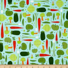 Cultivate and Cook Vegetables Blue from @fabricdotcom  Designed by Pink Light Design for Robert Kaufman Fabrics, this cotton print includes colors of green, orange, red and white on a blue background. Use for quilting, crafts, apparel and home decor accents.