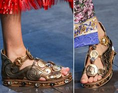 Dolce & Gabbana Spring 2014 Ready-to-Wear Collection - Vogue Dolce & Gabbana, Spring 2014, Spring Summer, Summer 2014, Backstage, Sandals 2014, Golden Sandals, Vogue, Spring Shoes