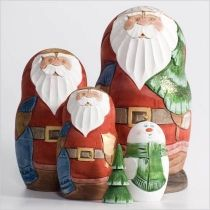 Carved Santa nesting doll from Russia