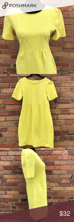 Daniel Cremieux Yellow Short Sleeved Sheath Dress This stunning yellow dress is so versatile. Wear it to the office, to church, brunch with friends, wherever you go you'll love your look in this dress. Features a flattering sheath cut to flatter your figure. From a smoke free home, in excellent used condition. Check out the rest of my closet to create your own custom bundle. Daniel Cremieux Dresses Midi