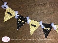 Mr. Wonderful Birthday Party Banner Pennant Garland Boy Gold Black White ONE Onederful Bow Tie Mustache Boogie Bear Invitations Owen Theme by BoogieBearInvitation on Etsy https://www.etsy.com/listing/517731227/mr-wonderful-birthday-party-banner