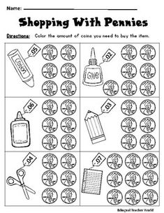 Coin Master 2020 - Laundry Coin Holder - Coin Lecture Garde Robe - Coin Necklace With Pearls Money Worksheets, 1st Grade Math Worksheets, First Grade Math, Printable Worksheets, Printables, Homeschool Kindergarten, Elementary Math, Preschool Learning, Homeschooling