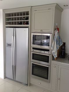Freestanding American fridge, with solid wood cabinets and integrated appliances, Wicklow and Dublin.