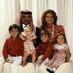King Hussein with his American wife Queen Noor and their four children; Prince Hamzah, Princess Raiyah, Prince Hashim and Princess Iman