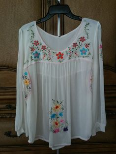 Boho Peasant Embroidered Chiffon Top M/L Ivory Florals Scoop Neck Long Sleeves in Clothing, Shoes & Accessories, Women's Clothing, Tops & Blouses | eBay